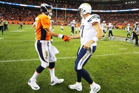 Broncos quarterback Peyton Manning is congratulated by Chargers quarterback Philip Rivers. (Denver Broncos photo)