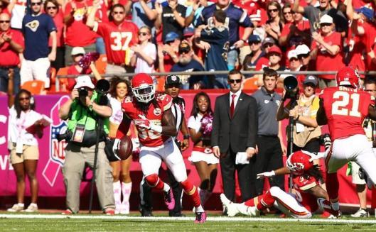 Chiefs defensive back Ron Parker intercepted the ball. (Kansas City Chiefs photo)
