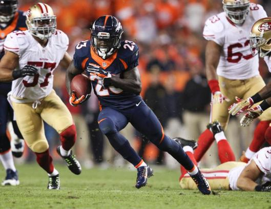 Bronco running back  Ronnie Hillman scored two touchdowns in the second half of the game Sunday. (Denver Broncos photo)