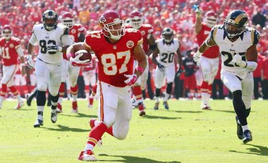 Chiefs rookie tight end Travis Kelce runs with the ball. (Kansas City Chiefs photo)