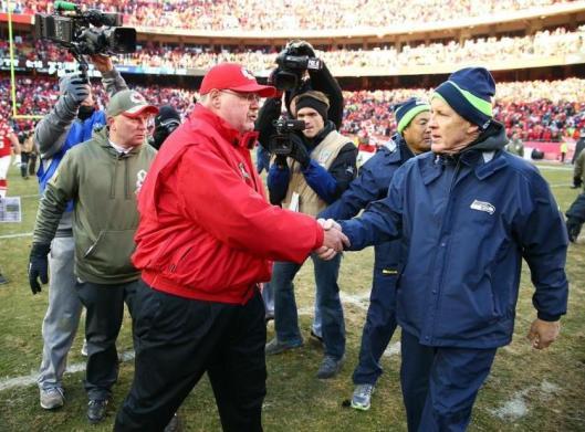 Chefs Head Coach Andy Reid greets Seahawks Head Coach Pete Carroll after the game Sunday.  (Kansas City Chiefs photo)