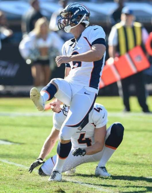 Bronco Brandon McManus kicks a field goal.  (Denver Broncos photo)