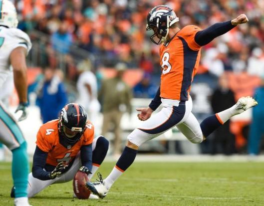 A Brandon McManus field goal put the Broncos on the scoreboard in the first quarter Sunday. McManus, however, missed a field goal in the third quarter. (Denver Broncos photo)