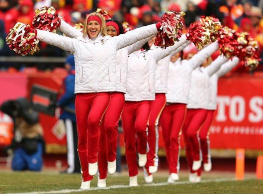 The Chiefs cheerleaders had to wear more than usual Sunday for the 20 degree weather at Arrowhead Stadium. (Kansas City Chiefs photo)