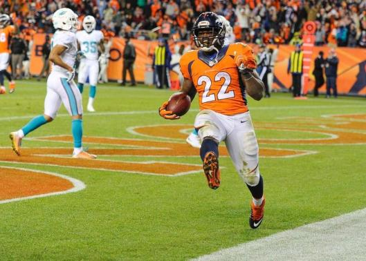Running back C.J. Anderson scored the second of three touchdowns in the fourth quarter of the game against the Miami Dolphins Sunday. Anderson led the Broncos in rushing with 27 carries for 167 yards. (Denver Broncos photo)