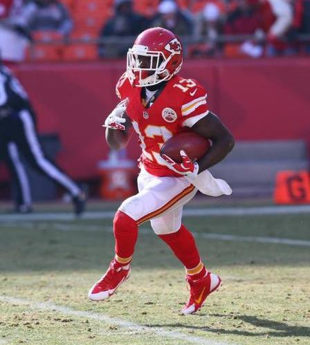Chief D'Anthony Thomas returns the ball from a kickoff. (Kansas City Chiefs photo)