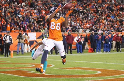 Wide receiver  Demaryius Thomas scored  three touchdowns for Denver Sunday: two in the second quarter and one in the fourth quarter.  (Denver Broncos photo)
