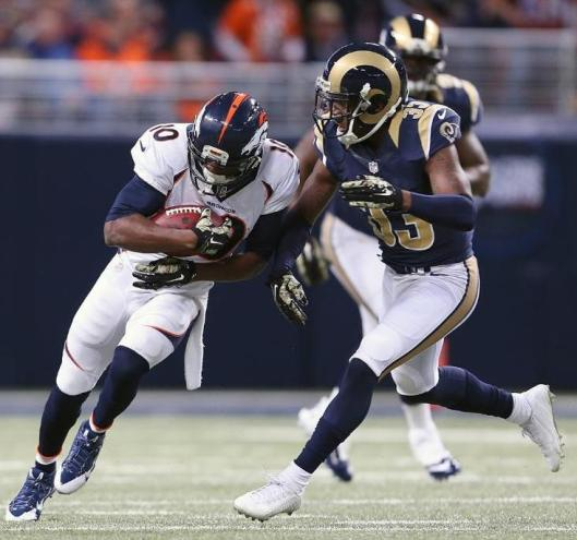 Wide receiver Emmanuel Sanders scored the Broncos' only touchdown Sunday in their game against the Rams in St. Louis. (Denver Broncos photo)
