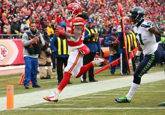 Chiefs running back Jamaal Charles scored two touchdowns and rushed 159 yards Sunday in  the game against the Seattle Seahawks. (Kansas City Chiefs photo)