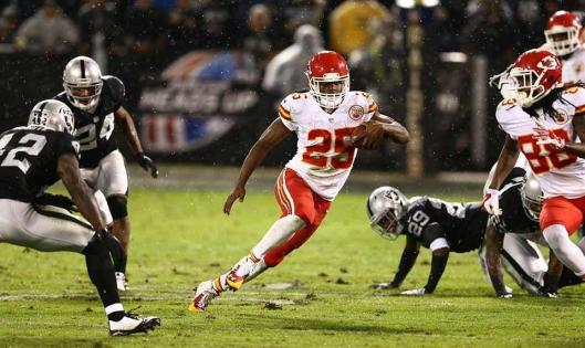 Jamaal Charles scored one touchdown, four pass receptions for 42 yards and 19 carries for 80 yards rushing Thursday night. (Kansas City Chiefs photo)