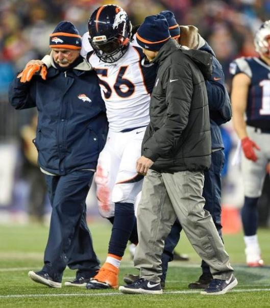 Bronco linebacker Nate Irving was injured Sunday. (Denver Broncos photo)