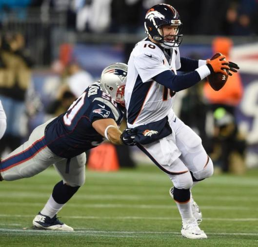 Bronco quarterback Peyton Manning gets sacked Sunday. (Denver Broncos photo)