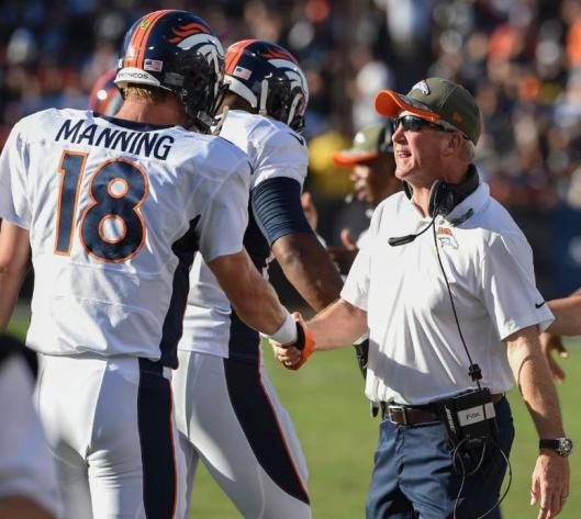 Broncos Head Coach John Fox congratulates quartrback Peyton Manning for his record breaking  efforts  Sunday. (Denver Broncos photo)
