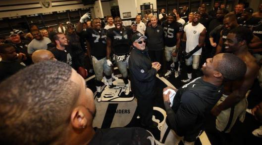 The Raiders locker room after the game Thursday night (Oakland Raiders photo)