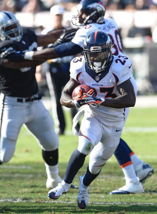 Bronco running back Ronnie Hillman rushed six times for 13 yards Sunday. (Denver Broncos photo)