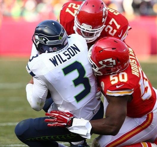 Seahawks quarterback Russell Wilson  was sacked Sunday. (Kansas City Chiefs photo)