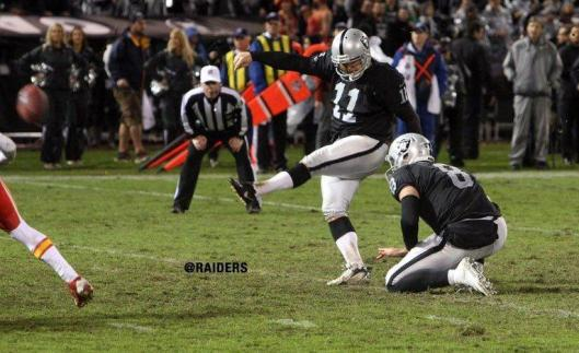 Sebastian Janikowski kicked one 40-yard field goal for the Raiders Thursday night. (Oakland Raiders photo)