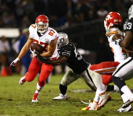 Rookie tight end Travis Kelce led the chiefs in receptions with four for 67 yards Thursday night.  (Kansas City Chiefs photo)