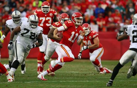 Chiefs quarterback Alex Smith ran three times for 17 yards Sunday, successfully threw 18 passes for 297 yards and was sacked once. (Kansas City Chiefs photo)