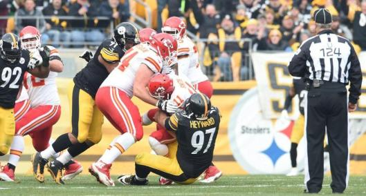 Chiefs quarterback Alex Smith is sacked by Steelers defensive end Cameron Heyward. Smith was sacked six times Sunday. (Pittsburgh Steelers Photo)