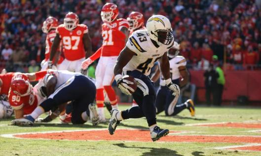Chargers running back Branden Oliver scored San Diego's only touchdown Sunday. He led the Chargers in rushing Sunday with 14 carries for 71 yards. (San Diego Chargers photo)