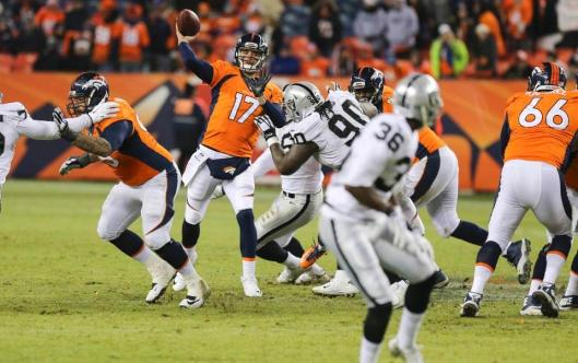 Bronco backup quarterback Brock Osweiler pitched his first touchdown pass Sunday. (Denver Broncos photo)