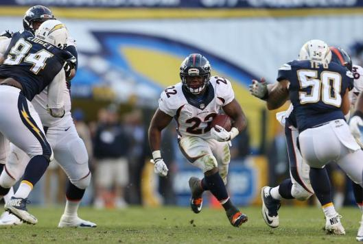 Bronco running back C.J. Anderson led Denver in rushing Sunday with 29 carries for 85 yards. (Denver Broncos photo)