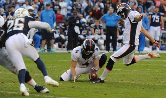 Bronco kicker Connor Barth Sunday successfully kicked five Denver field goals, ranging from 19 to 48 yards. (Denver Broncos photo)