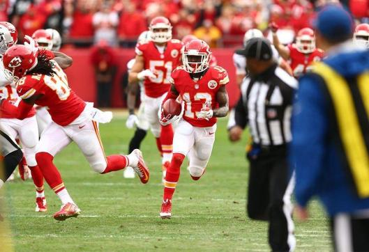 Chiefs rookie running back D'Anthony Thomas made Kansas City's first score Sunday with an 81-yard punt return touchdown. (Kansas City Chiefs photo)