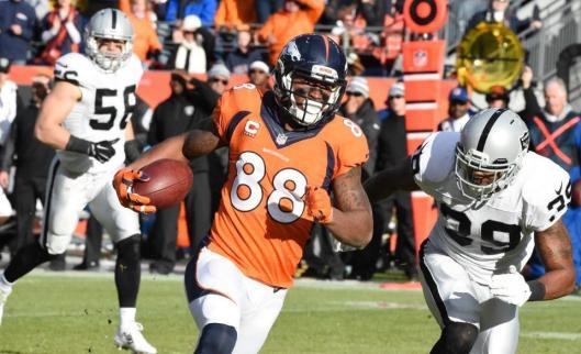 Bronco wide receiver Demaryius Thomas had eight receptions for 15 yards Sunday. (Denver Broncos photo)