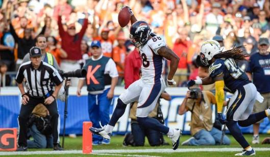 Bronco wide receiver Demaryius Thomas scored Denver's only touchdown with a 28-yard pass from Peyton Manning. Thomas had six receptions for 123 yards. (Denver Broncos photo)