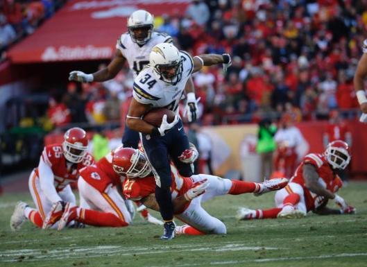 Chargers running back Donal Brown was just behind Branden Oliver in rushing with 10 carries for 39 yards. (San Diego Chargers photo)