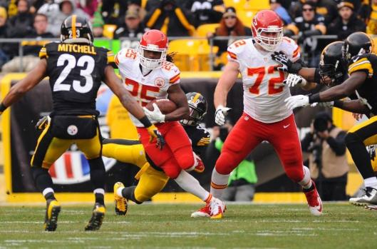 Chiefs running back Jamaal Charles led Kansas City in rushing with nine carries for 29 yards. He fumbled once for an interception. (Kansas City Chiefs Photo)