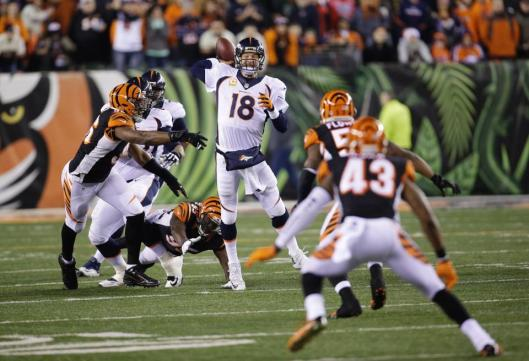 Bronco quarterback Peyton Manning had 28 completed passes for 311 yards but was intercepted four times.  (Denver Broncos photo)