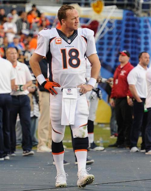 Bronco quarterback Peyton Manning was not feeling well Sunday, but nonetheless threw 14 complete passes for 233 yards. (Denver Broncos photo)