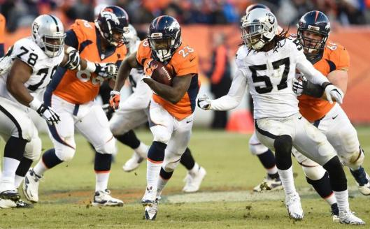 Bronco running back Ronnie Hillman carried the ball 15 times for 56 rushing yards Sunday. (Denver Broncos photo)