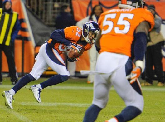 Bronco cornerback Tony Carter recovered a fumble from Raider quarterback Derek Carr and scored a touchdown near the end of the fourth quarter Sunday. (Denver Broncos photo)
