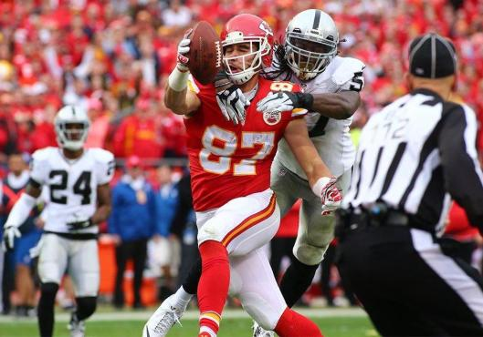 Chiefs rookie tight end Travis fumbled and was intercepted near the start of the third quarter but later scored a touchdown with a 20-yard pass. (Kansas City Chiefs photo)