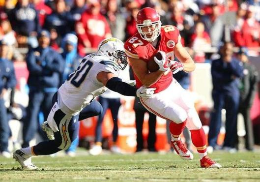 Chiefs rookie tight end Travis Kelce scored Kansas City's only touchdown Sunday against the San Diego Chargers. Kelce led the Chiefs in receptions with seven catches for 84 yards. (Kansas City Chiefs photo)