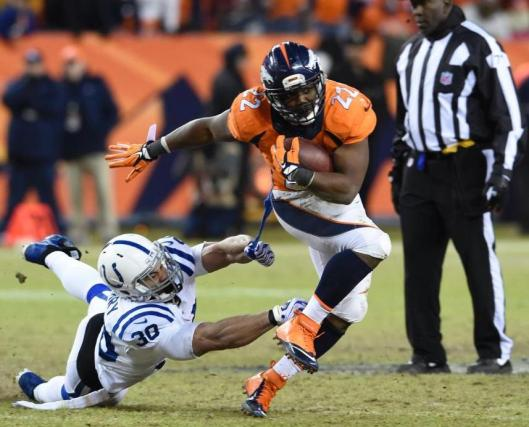 Running back C.J. Anderson led the Broncos in rushing with 18 carries for 80 yards. (Denver Broncos photo)