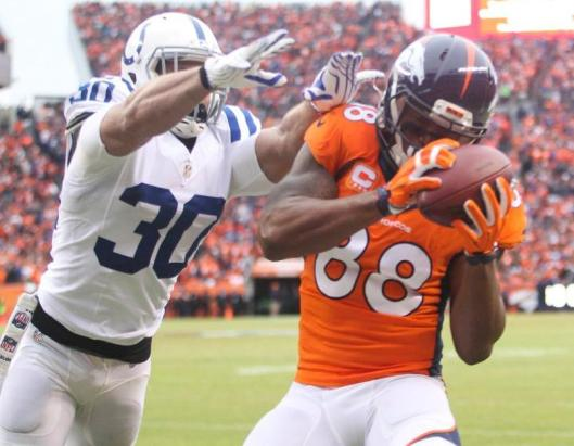 Wide receiver Demaryius Thomas scored Denver's only touchdown Sunday. He had five catches for 59 yards. (Denver Broncos photo)