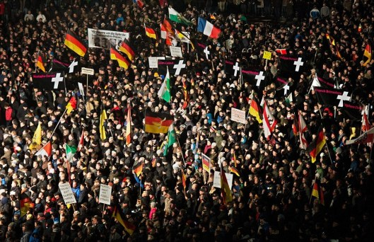 Marchers in Dresden, Germany, protested the Islamization of the West.