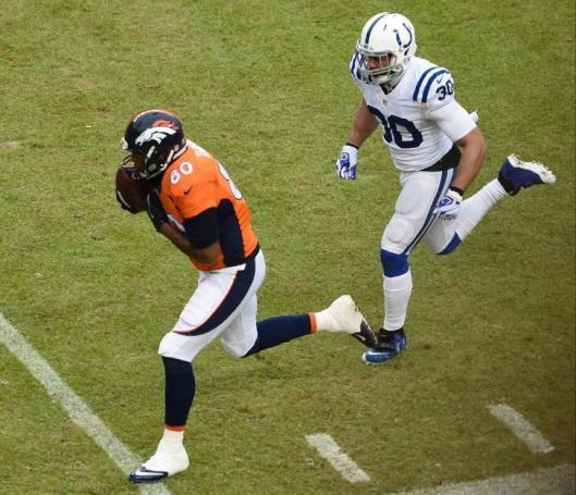 Denver tight end Julius Thomas had six receptions for 53 yards Sunday.  (Denver Broncos photo)