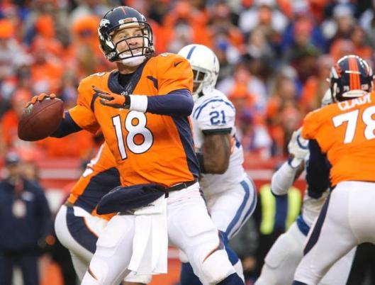 After the game Sunday Denver quarterback Peyton Manning would not say definitely whether he is or is not returning to the Broncos next season. (Denver Broncos photo)