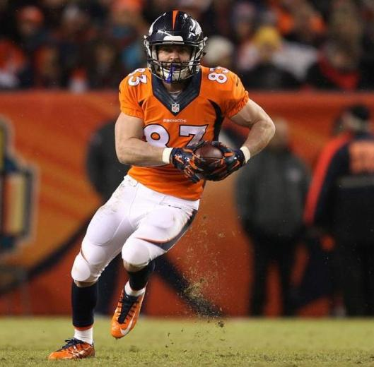 Wide receiver Wes Welker had one 20-yard reception Sunday (Denver Broncos photo)