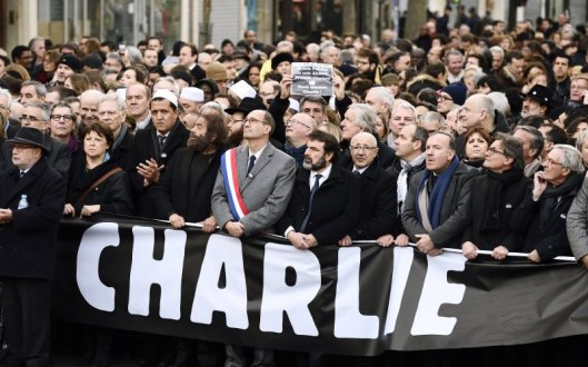 World leaders Monday joined demonstraters in Paris.