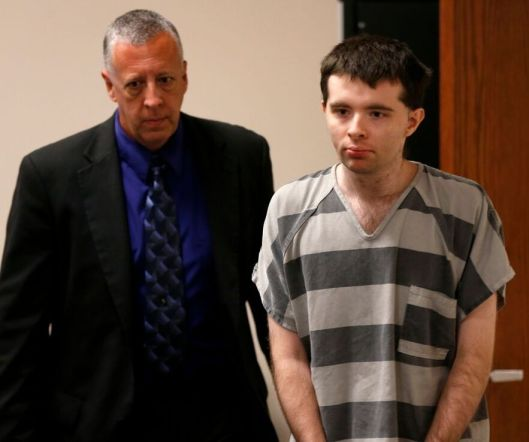 Another view of Nicholas Godejohn entering the courtroom.  (Pool photo - Nathan Papes/Springfield News-Leader)