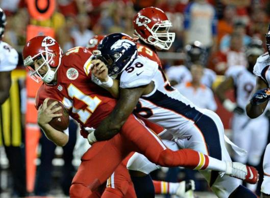 Chiefs quarterback Alex Smith is sacked by Broncos libebacker Von Miller. (Denver Broncos photo)