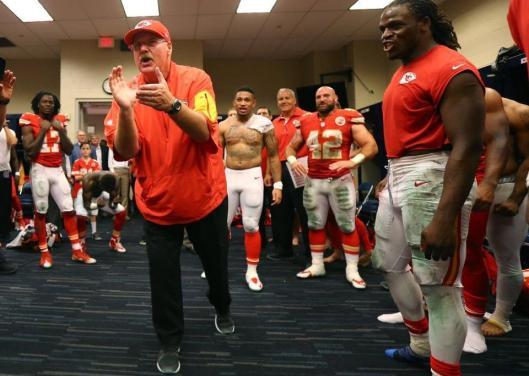 Chiefs Head Coach Andy Reid congratulates his team after their win Sunday. (Kansas City Chiefs photo)