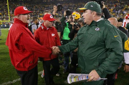Chiefs Head Coach Andy Reid congratulates Packers Head Coach Mike McCarthy after the game Monday night. (Kansas City Chiefs photo)